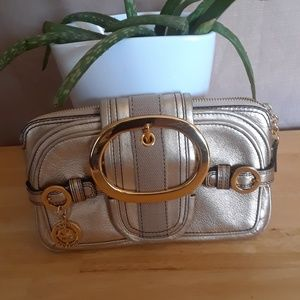 JUICY COUTURE Leather Clutch Bag Golden Pattern